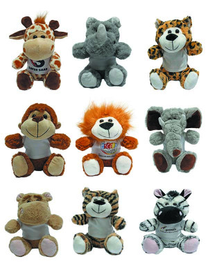 Kit com 40 Bichinhos do Safari com Camiseta Personalizada - ALT: 20 cm x LARG: 17 cm
