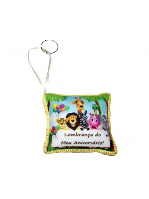 Chaveiro Lembrancinha de Aniversário Safári com dizer - CHS01 - Alt: 6 cm x Larg: 6 cm